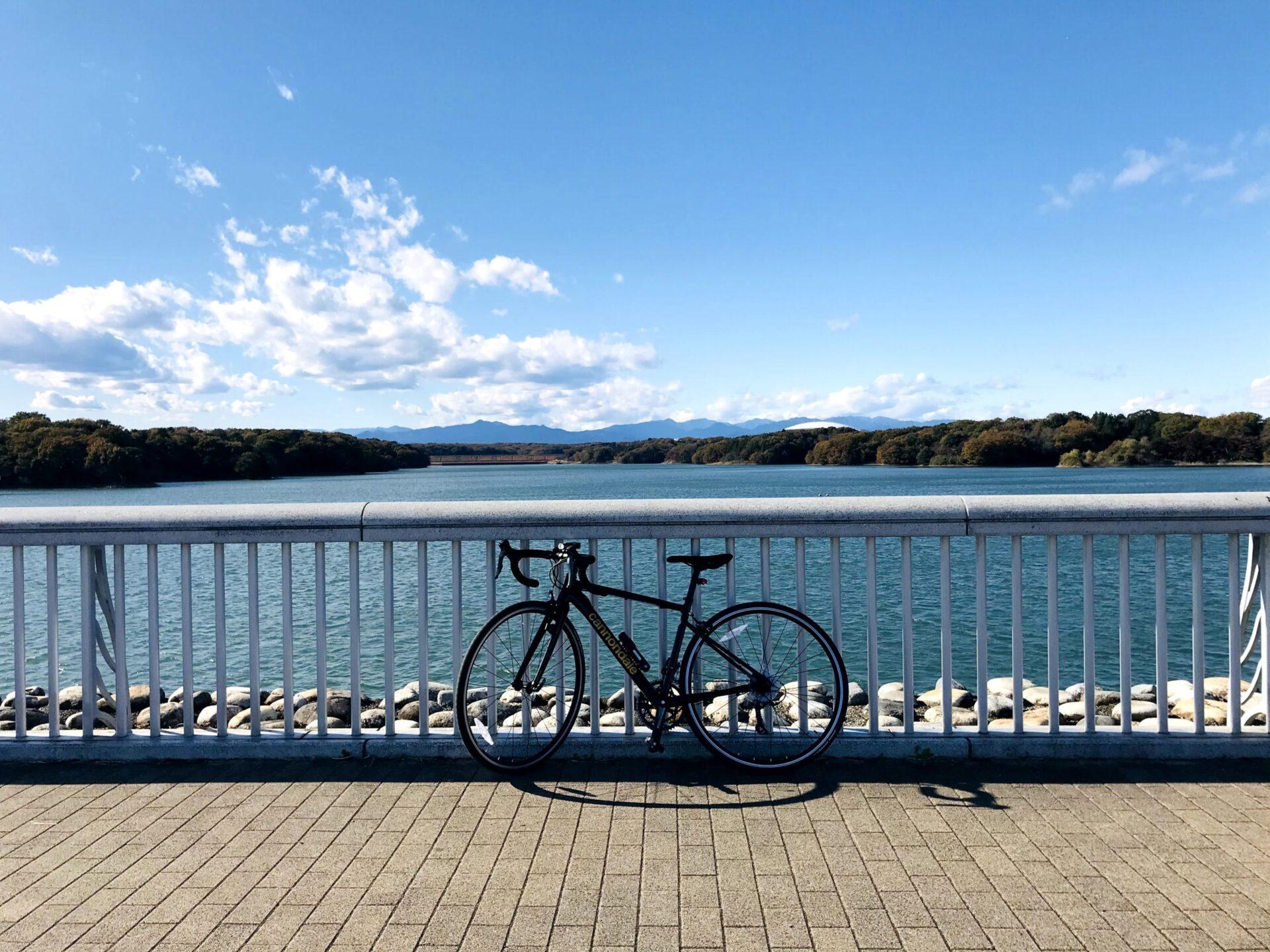 晴れた日の多摩湖とロードバイク
